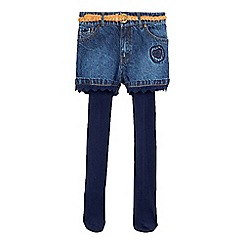 Mantaray - Girls' blue denim shorts with tights