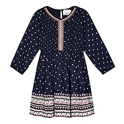 Mantaray - Girls' navy embroidered dress