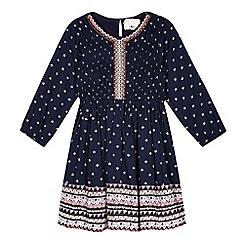 Mantaray - Girls' navy embroidered dress