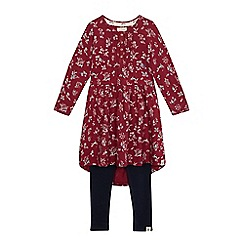 Mantaray - Girls' multi-coloured floral dress and leggings set