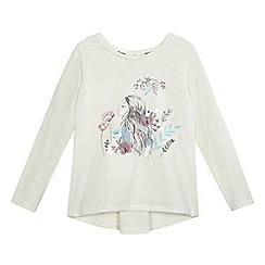 Mantaray - Girls' cream girl print flower applique top