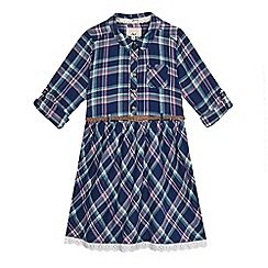 Mantaray - Girls' multi-coloured checked belted dress