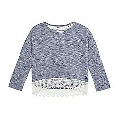 Mantaray - Girls' blue textured marl crochet hem top