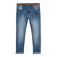 Mantaray - Girls' light-wash denim jeans with belt