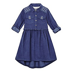 Mantaray - Girls' dark blue cord shirt dress