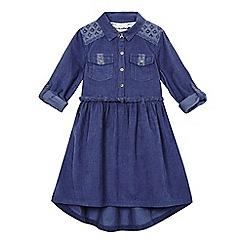 Mantaray - Girls' dark blue cord shirt dress