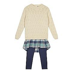 Mantaray - Girls' multi-coloured mock jumper and dress and blue leggings set