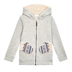 Mantaray - Girls' grey mitten pocket hoodie