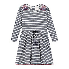 Mantaray - Girls' navy striped tasselled waist dress