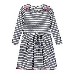 Mantaray - Girls' navy striped tasselled waist dress