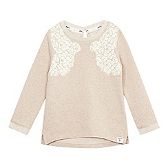 Mantaray - Girls' pink lace detail sweatshirt