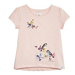 Mantaray - Girls' light pink sequin bird print t-shirt