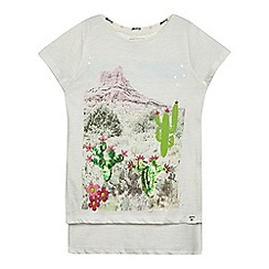 Mantaray - Girls' off white cactus print top