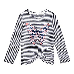 Mantaray - Girls' stripe knot front butterfly top