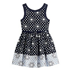 J by Jasper Conran - Girls' navy spotted belted prom dress