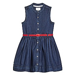 J by Jasper Conran - Girls' dark blue denim belted shirt dress