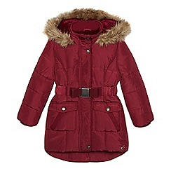 J by Jasper Conran - Girls' dark red belted parka coat