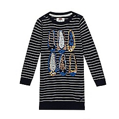 J by Jasper Conran - Girls' navy stitched stripe and sequin shoes tunic