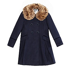 J by Jasper Conran - Girls' navy double breasted coat
