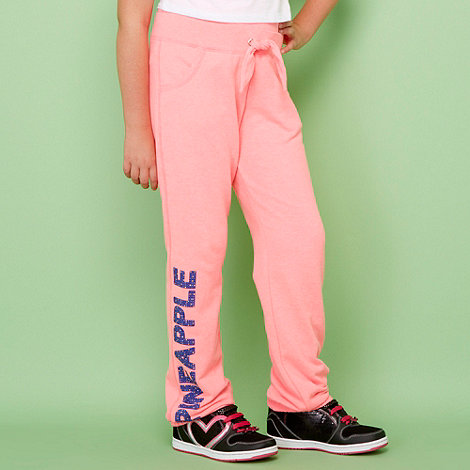 Pineapple - Girl+s bright pink studded logo jogging bottoms