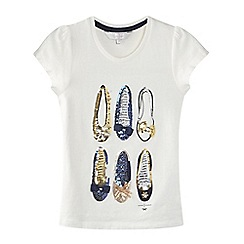 J by Jasper Conran - Girls' cream sequin embellished t-shirt