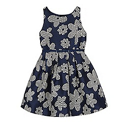 J by Jasper Conran - Girls' navy floral jacquard dress