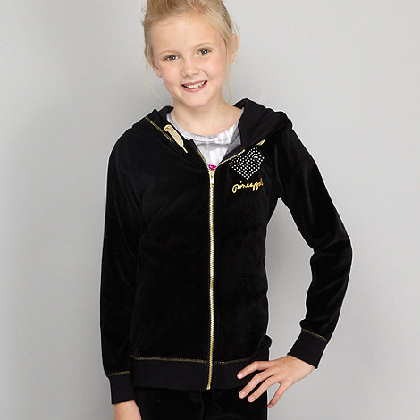 Pineapple - Girl's black velour sweat hoodie