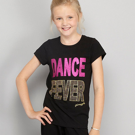 Pineapple - Girl+s black +dance fever+ t-shirt
