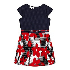 J by Jasper Conran - Girls' navy and red textured floral print dress