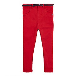 J by Jasper Conran - Girls' red belted skinny jeans