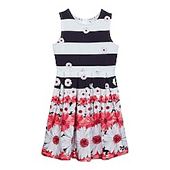 J by Jasper Conran - Girls' multi-coloured striped flower print dress