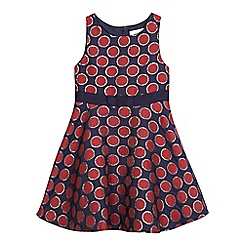J by Jasper Conran - Girls' navy textured spot dress
