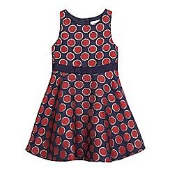 J by Jasper Conran - Girls' navy textured spot dress