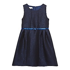 J by Jasper Conran - Girls' navy flared jacquard dress with a belt