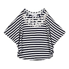 J by Jasper Conran - Girls' navy and white striped print cape top