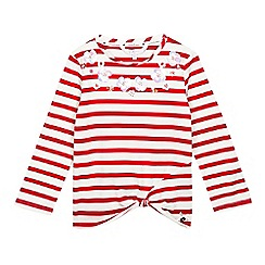 J by Jasper Conran - Girls' red striped print flower applique knot waist top