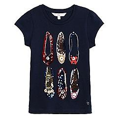 J by Jasper Conran - Girls' navy sequin shoe applique top