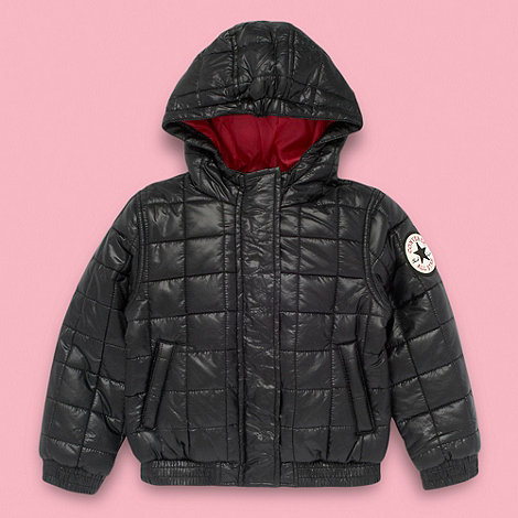 Converse - Girl+s black quilted bomber jacket