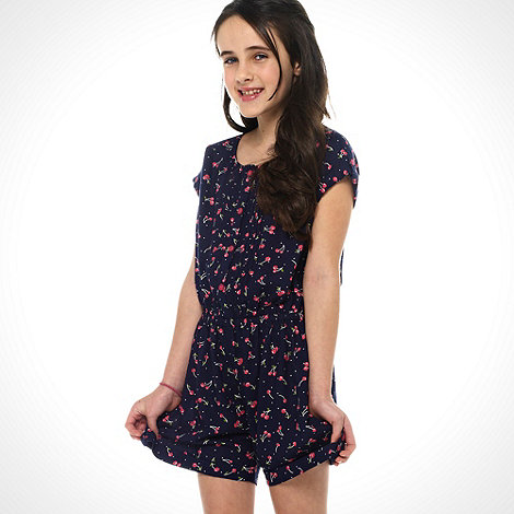 bluezoo - Girl+s navy cherry printed playsuit