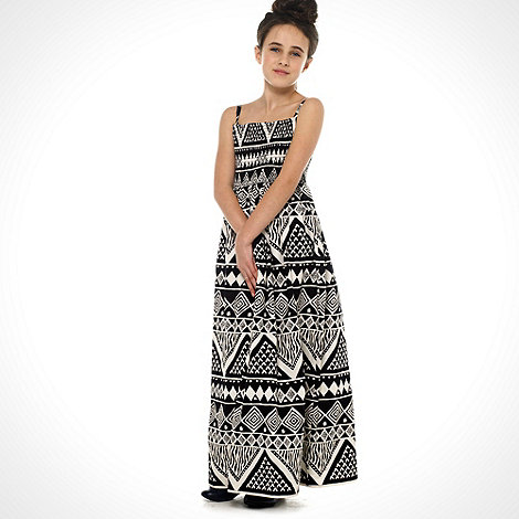 bluezoo - Girl+s black tribal printed maxi dress