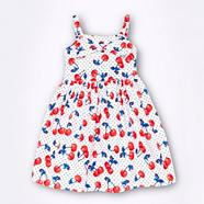 Girl's white dotted cherry sundress