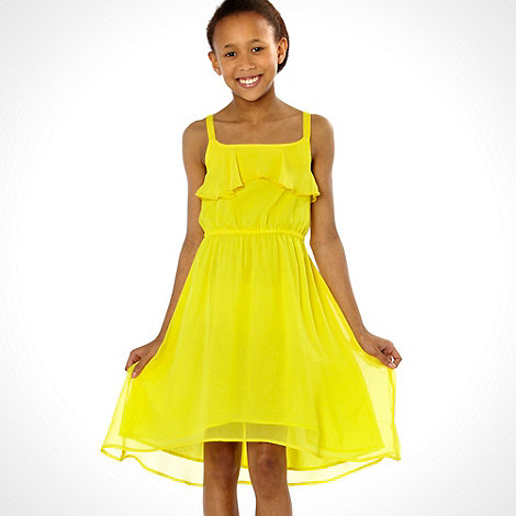 bluezoo - Girl+s yellow strappy dip hem dress