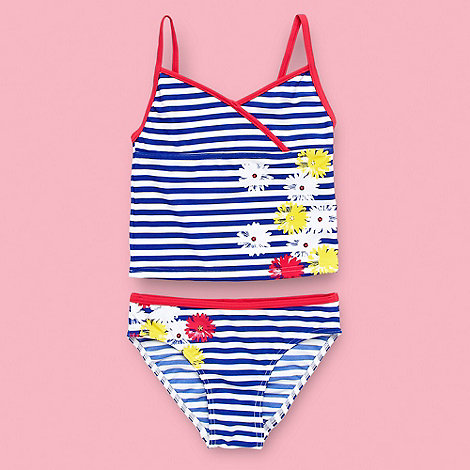 bluezoo - Girl+s blue striped floral tankini set