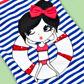 bluezoo - Girl+s blue striped girl motif swimsuit Alternative 2
