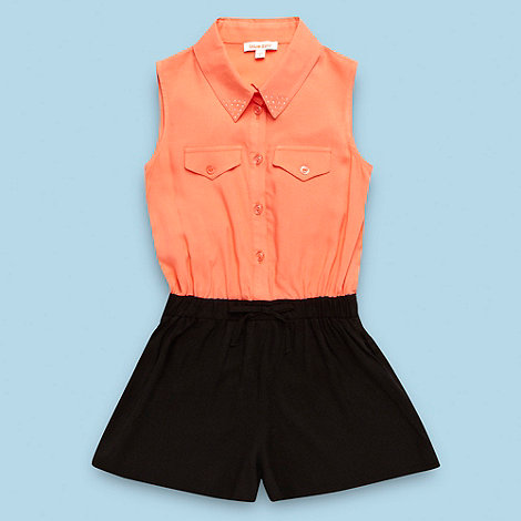 bluezoo - Girl+s coral woven playsuit