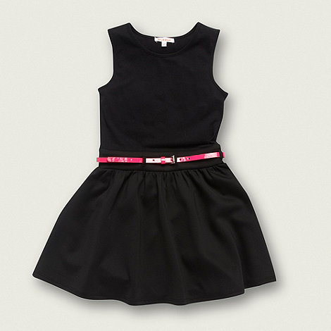 bluezoo - Girl+s black neon belted dress
