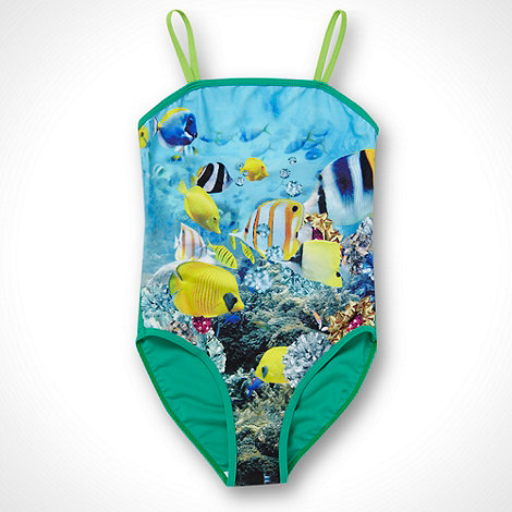 bluezoo - Girl+s green photographic fish swimsuit