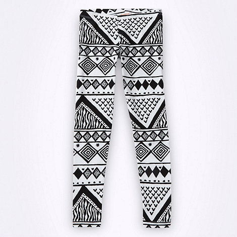 bluezoo - Girl+s white aztec patterned leggings