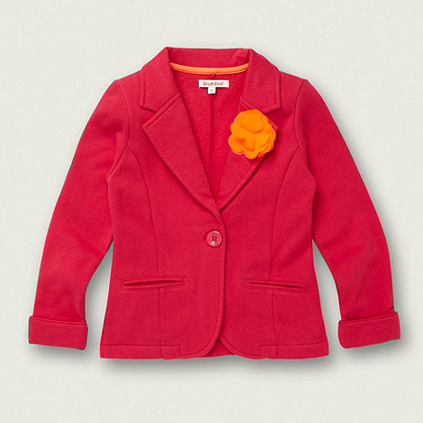 bluezoo - Girl+s bright pink neon corsage jersey blazer