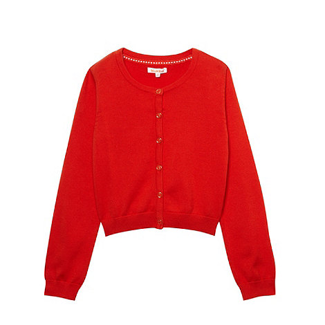 bluezoo - Girl+s red crew neck cardigan